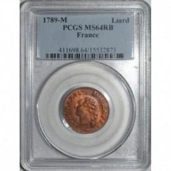 Gad 348 - LOUIS XVI - LIARD - 1789 M - SUP GRADE PCGS MS 64