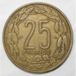 AFRIQUE CENTRALE - 25 FRANCS 1962 - TRES TRES BEAU