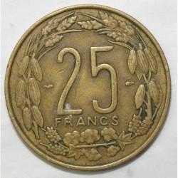 AFRIQUE CENTRALE - 25 FRANCS 1958 - TRES TRES BEAU