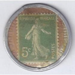 CREDIT LYONNAIS - 5 CENTIMES SEMEUSE 1920 - VERT/ROUGE - TRES BEAU +