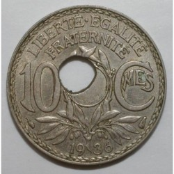 FRANCE - KM 866a - 10 CENTIMES 1936 - TYP LINDAUER - DECENTERED HOLE