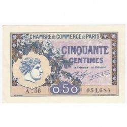 PARIS (75) - 50 CENTIMES 1920 - CHAMBRE DE COMMERCE DE PARIS - NEUF