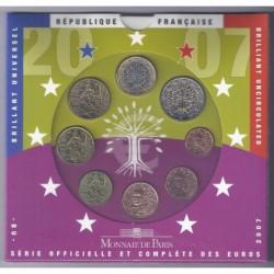 FRANCE - COFFRET EURO BRILLANT UNIVERSEL CLASSIQUE 2007 - 8 PIECES