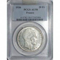 GADOURY 852 - 20 FRANCS 1936 TYPE TURIN - SUP GRADE PCGS AU58 - KM 879
