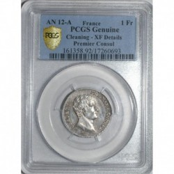 FRANCE - KM 649 - 1 FRANC 1803 - YEAR 12 A - Paris - FIRST CONSUL - PCGS - CLEANING