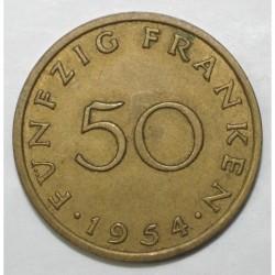 GERMANY - SARRE - KM 3 - 50 FRANKEN 1954 - ECU A LA CROIX LATINE