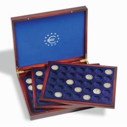 COFFRET NUMISMATIQUE ACAJOU POUR PIECES DE 2 EUROS AVEC CAPSULES - 3 PLATEAUX - REF 303369