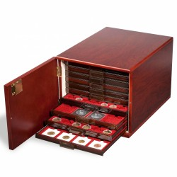 NUMISMATIC SAFE FOR 10 MB COIN BOXES OR 6 MB XL, TINTED MAHOGANY - REF 301415