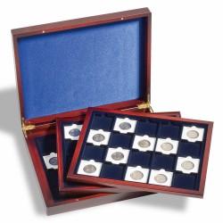 VOLTERRA TRIO DE LUXE PRESENTATION CASE FOR 60 COIN HOLDERS OR QUADRUM - MAHOGANY OR BLACK