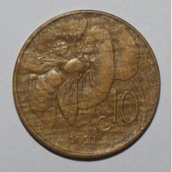 ITALY - KM 60 - 10 CENTESIMI 1921 - VICTOR EMMANUEL III