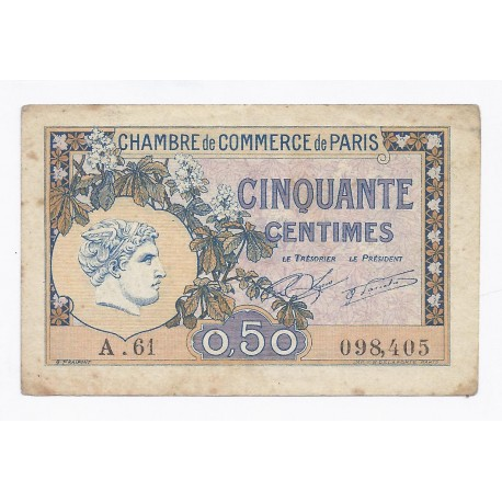 75 paris 50 centimes 1920 chambre de commerce de for Chambre de commerce de paris