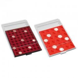 Médailliers MB pour pièces en capsule ronde de 16.5 à 41 mm - Format extérieur 236 x 303 x 20 mm