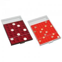 Médailliers MB cases rondes de 21.5 à 41 mm - Format extérieur 236 x 303 x 20 mm