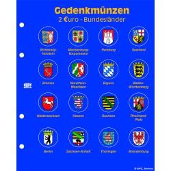 """FEUILLE """"TOPSET"""" POUR 16 PIECES DE 2 EUROS ALLEMANDES ILLUSTREE - REF 7827/SAFE"""