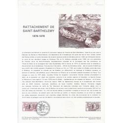 971 - ST-BARTHELEMY- TIMBRE 1.10 FRANCS - 19/01/1978 - RATTACHEMENT DE SAINT-BARTHELEMY 1878-1978