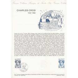 11 - FABREZAN - 75 - PARIS - TIMBRE 1.00 + 0.20 FRANC - 3/12/1977 - CHARLES CROS 1842-1888