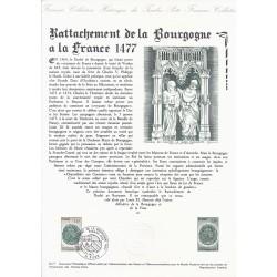 21 - DIJON - TIMBRE 1.25 FRANC - 2/07/1977 - RATTACHEMENT DE LA BOURGOGNE A LA FRANCE 1477