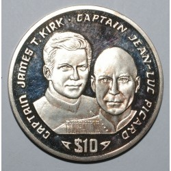 LIBERIA - KM 129 - 10 DOLLAR 1995 - STAR TREK - CAPTAINS JAMES T. KIRK AND JEAN-LUC PICARD