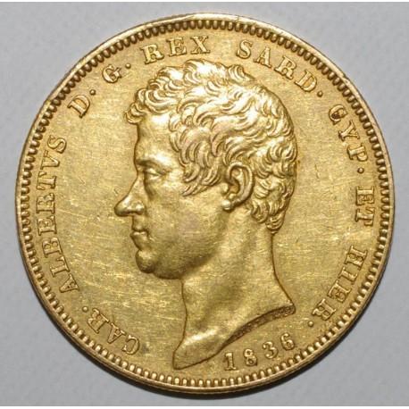 ITALY - SARDINIA - KM 133.1 - 100 LIRE 1836 P - ANCHOR MINTMARK - GOLD