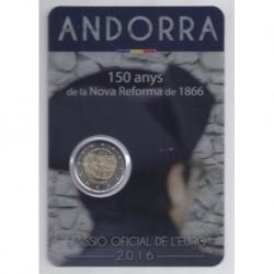 ANDORRE - 2 EURO 2016 - 150ème Anniversaire de la Nouvelle Réforme - COINCARD