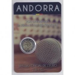 ANDORRE - 2 EURO 2016 - 25è anniversaire de la radio et télévision d'Andorre - COINCARD