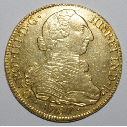COLOMBIA - KM 50.2a - 8 ESCUDOS 1787 P-SF - CHARLES III - TTB