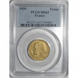 GADOURY 470 - 1 FRANC 1939 TYPE MORLON BRONZE ALU - SPL M63 - KM 885