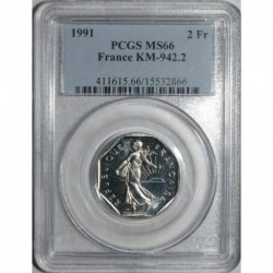 GADOURY 547 - 2 FRANCS 1991 TYPE SEMEUSE FRAPPE MEDAILLE - FDC MS 66 - KM 942.2
