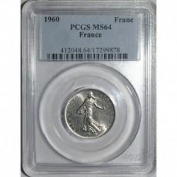 GADOURY 474 - 1 FRANC 1960 TYPE SEMEUSE GRAND O - SPL MS64 - KM 925.1
