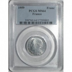 GADOURY 473c - 1 FRANC 1959 TYPE MORLON ALU - SPL PCGS MS 64 - KM 885a.1