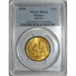 GADOURY 533 - 2 FRANCS 1925 TYPE CHAMBRE DE COMMERCE - SPL MS 64 - KM 877