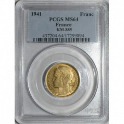 GADOURY 470a - 1 FRANC 1941 TYPE MORLON BRONZE ALU - SPL PCGS MS 64 - KM 885