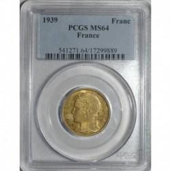 GADOURY 470 - 1 FRANC 1939 TYPE MORLON BRONZE ALU - SPL PCGS MS 64 - KM 885