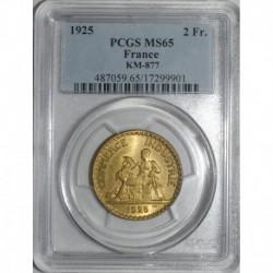 GADOURY 533 - 2 FRANCS 1925 TYPE CHAMBRE DE COMMERCE - FDC MS 65 - KM 877