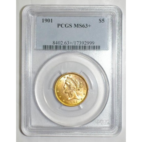 UNITED STATES - KM 101 - 5 DOLLARS 1901 - LIBERTY - GOLD - PCGS MS 63 +