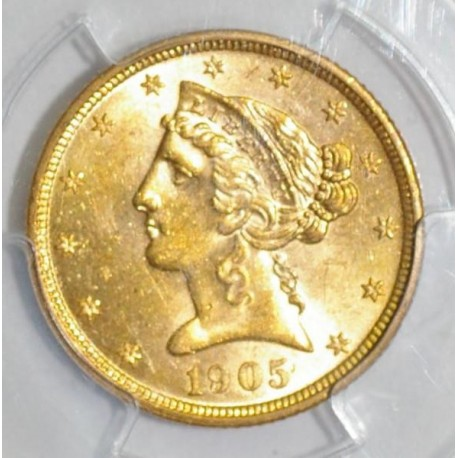 USA - KM 101 - 5 DOLLARS 1905 - LIBERTY - OR - SPL 63 - Gradé PCGS MS 63