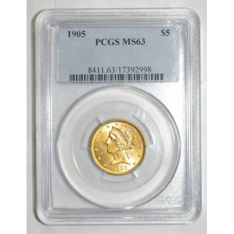 UNITED STATES - KM 101 - 5 DOLLARS 1905 - LIBERTY - GOLD - PCGS MS 63