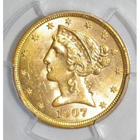 USA - KM 101 - 5 DOLLARS 1907 - LIBERTY - OR - SPL 63 - Gradé PCGS MS 63