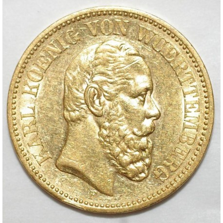 GERMAN STATES - WURTTEMBERG - KM 622 - 20 MARK 1872 F - Stuttgart - Karl I - GOLD
