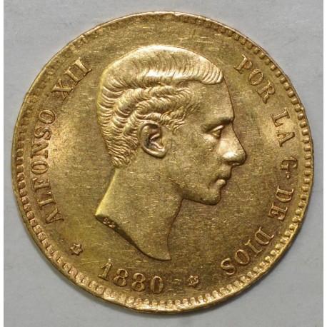 SPAIN - KM 673 - 25 PESETAS 1880 - OR - SUP