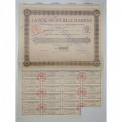 80 - AMIENS 1927 - LA SOIE ARTIFICIELLE D'AMIENS - ACTION DE 100 FRANCS - SUP