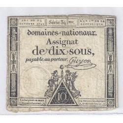 ASSIGNAT DE 10 SOUS - SERIE 341 - 24/10/1792 - DOMAINES NATIONAUX - TB