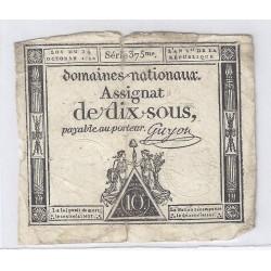 ASSIGNAT DE 10 SOUS - SERIE 375 - 24/10/1792 - DOMAINES NATIONAUX - TB