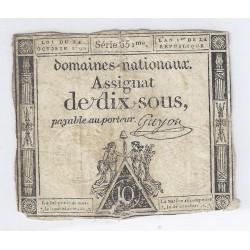 ASSIGNAT DE 10 SOUS - SERIE 651 - 24/10/1792 - DOMAINES NATIONAUX - TB
