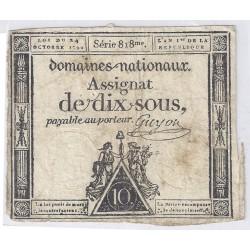 ASSIGNAT DE 10 SOUS - SERIE 818 - 24/10/1792 - DOMAINES NATIONAUX - TB