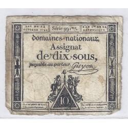 ASSIGNAT DE 10 SOUS - SERIE 991 - 24/10/1792 - DOMAINES NATIONAUX - TB