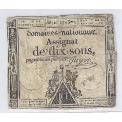 ASSIGNAT DE 10 SOUS - SERIE 1703 - 24/10/1792 - DOMAINES NATIONAUX - TB