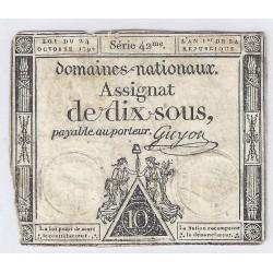 ASSIGNAT DE 10 SOUS - SERIE 42 - 24/10/1792 - DOMAINES NATIONAUX - TB/TTB