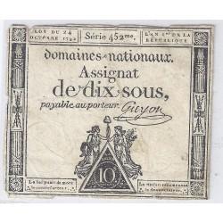 ASSIGNAT DE 10 SOUS - SERIE 452 - 24/10/1792 - DOMAINES NATIONAUX - TB/TTB
