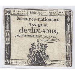 ASSIGNAT DE 10 SOUS - SERIE 899 - 24/10/1792 - DOMAINES NATIONAUX - TB/TTB